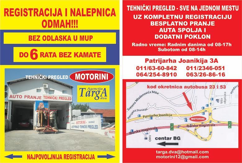 registracija vozila targa dva